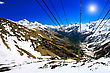Wonderful View Of The Cableway In The Mountains. Elbrus stock photo