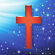 Wood Cross On Blue Wave Starry Background. Symbol Of Religion
