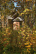 Wooden Chapel In Autumn Wood stock image