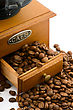 Wooden Coffee Grinder With Beans On White