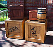 Wooden Crates Of Tea And Wooden Barrel. stock photography