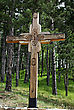 Wooden Cross In A Pine Forest On A Sunny Summer Day stock photography