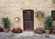 Wooden Door & Blooming Flower Pots - Provence, France stock photography