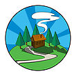 Wooden House, Cabin In The Forest. Graphic Icon.