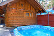 Wooden House Of Russian Baths And Hot Whirlpool stock photo
