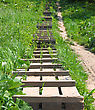 Wooden Ladder Is Located A Hill Slope