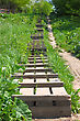 Wooden Ladder Is Located A Hill Slope stock image