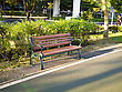 Wooden Park Bench At A Park stock photo