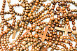 Wooden Rosary Beads, Useful As Texture Or Background Over White