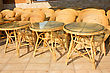 Wooden Tables And Chairs In A City Cafe. The Cafe Is Unoccupied