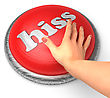 Word Hiss On Button With Hand Pushing stock illustration