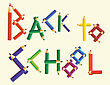 Words BACK TO SCHOOL Made From Colored Pencils