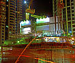 Working on construction site in the night stock photography