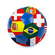 World Cup Football With Nations Flags Isolated On A White stock photo