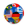 World Cup Football With Nations Flags Isolated On A White