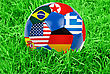 Ground World Cup Football With Nations Flags stock photo