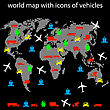 World Map With Icons Of Transport For Traveling. Vector.
