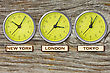 World Time. Time In New York, London And Tokyo, Three Watches On Wooden Wall stock photography