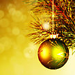Xmas Decoration Ball Over Abstract Golden Backgrounds With Beauty Bokeh