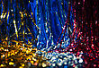 Glitter Xmas Decorations Of Different Colors As Wallpaper stock photography