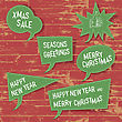 Xmas Speech Bubbles On Wooden Texture. Vector Illustration, EPS10