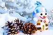 Xmas Still Life With Snowman stock photography