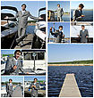 Yacht Dealer Collage. Made Of Nine Photos stock photography