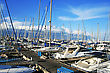 Yachts In Larnaca Port, Cyprus. stock photo
