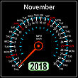 Year 2018 Calendar Speedometer Car In Concept. November