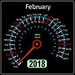 Year 2018 Calendar Speedometer Car In Concept. February