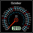 Year 2018 Calendar Speedometer Car In Concept. October