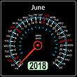 Year 2018 Calendar Speedometer Car In Concept. June