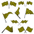 Rush Yellow And Black Checked Racing Flag. Vector Illustration. stock vector
