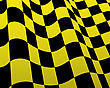 Rush Yellow And Black Checked Racing Flag. Vector Illustration. stock illustration