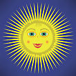 Yellow Cartoon Sun Icon Isolated On Blue Sky Background