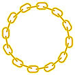 Yellow Chain Round Frame Isolated On White Background