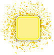 Yellow Confetti Banner Isolated On White Background. Set Of Particles
