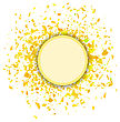 Yellow Confetti Round Banner Isolated On White Background. Set Of Particles