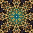 Yellow Endless Wallpaper. Seamless Psychedelic Paisley Background