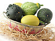 Yellow And Green Decorative Squashes In A Basket stock image