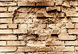 Yellow Grunge Brickwall With Hole stock photo