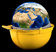 Yellow Helmet With Earth Planet Isolated On A Black Background stock photography