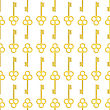 Yellow Keys Isolated On White Background. Seamless Gold Key Pattern
