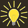 Yellow Lamp Isolated On Brown Background. Included Glass Bulb. Symbol Of Original Ideas