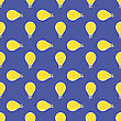 Yellow Lamp Seamless Pattern On Blue. Glass Bulb Background