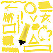 Yellow Marker Isolated On White Background. Set Of Graphic Signs. Arrows, Circles, Correction Lines