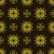 Yellow Ornamental Seamless Line Pattern On Dark Background. Endless Texture. Oriental Geometric Ornament