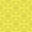 Yellow Ornamental Seamless Line Pattern. Endless Texture. Oriental Geometric Ornament