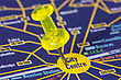 Yellow Pushpin On The Map Showing City Center Location stock photo