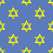 Yellow Star Of David Isolated On Blue Background. Seamless Pattern stock illustration